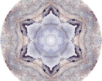 Mandala Art, Zen Art, Abstract Wall Art, Peaceful Art, Nature Wall Decor, Circle Art Print in Earthy Brown & Blue