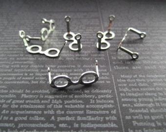 Tiny Eyeglass Frames Doll Eyeglasses SILVER TONE Jewelry Charms on Etsy x Quantity Choice