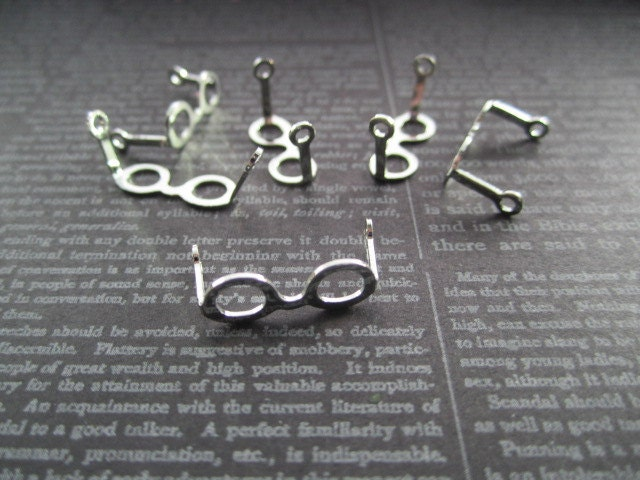 Eyeglass Frame Jewelry : Tiny Eyeglass Frames Doll Eyeglasses SILVER TONE Jewelry