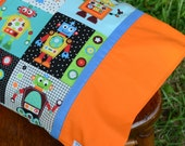 PLAYFUL ROBOTS (orange), Travel/Toddler Pillowcase, little boys bedding