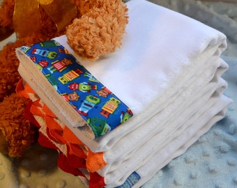 BABY ROBOTS, Burp Cloth Bundle, newborn gift set of 4 coordinating cloths in red, blue, orange for baby BOY