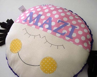 Pillow Baby - Little Girl MAZI -  You get to Choose colors! - PERSONALIZED round pillow