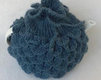 Teapot Cozy Tea pot cozy, tea accessories wool cozy Crocodile stitc - medium, in denim blue wool