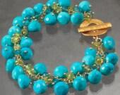 Turquoise Peridot London Blue Quartz Cluster  Wire Wrapped 24K Gold Vermeil Bracelet