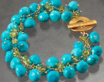 Turquoise Peridot London Blue Quartz Cluster  Wire Wrapped 24K Gold Vermeil Bracelet