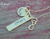 hand stamped mommy  necklace-personalized and custom-gold filled family necklace