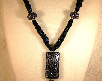 Grace Beads Black and Purple Necklace