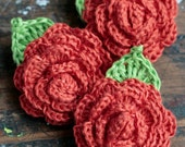 Crocheted Linen Flowers Brooch