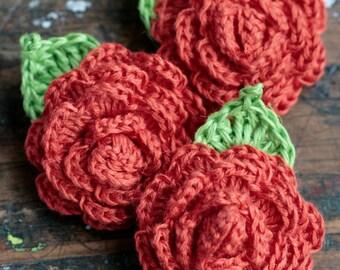 Crocheted Linen Flowers Brooch