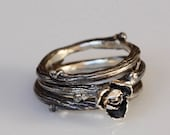 Rose and Willow twig rings, sterling silver stacking rings, twig stacking set, Made to order, your size