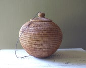 Vintage Round Coiled Basket with Lid, Finely Hand Woven
