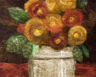 No.771 Floral Too - Needlefelt Art XL  Wool Painting