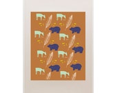 Deer Bear Pattern Print