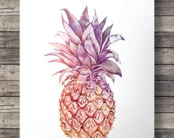 Watercolor Pineapple illustration - Digital Printable wall art
