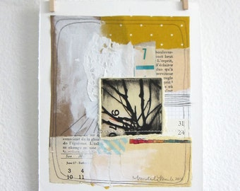 Original Collage Art - Mixed Media Artwork - Original Art - Handmade Art - Original Painting - Painting Art- Collage - Tree 70