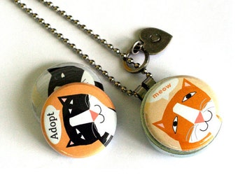 Cat Adoption Locket - Magnetic Necklace, Interchangeable Lids, Tabby Cat, Tuxedo, Recycled  SPCA DONATION, Polarity & Lizzyclara