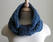 The Juno Winter Cowl - Denim Blue - Oversize, Chunky, Warm