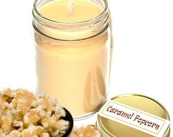 Caramel Popcorn Scent Mason Jar Candle  12 Oz Handmade Salty Sweet