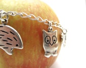 Woodland Love Charm Bracelet - Sterling Silver Animal Charm Bracelet with Owl, Hedgehog, Squirrel, Raccoon, and Rabbit