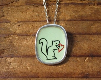 Squirrel Necklace - Sterling Silver and Vitreous Enamel Squirrel Necklace with Original Drawing