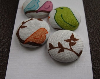 Wearable Sew On Fabric Covered Buttons - Size 36 or  7/8 inches  Birds and Branches