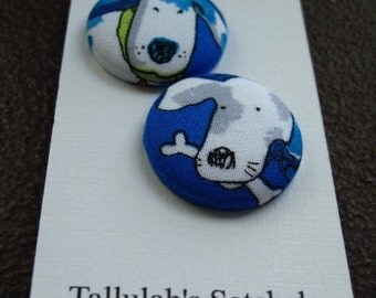 """Wearable Sew On Fabric Covered Buttons - Size 45 or 1 1/8"""" Dogs"""