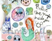 Disney inspired Mixed media, journaling collage sheets - by Mindy Lacefield