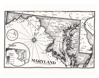 map of Maryland from the 1950's, a vintage printable map, digital download no. 597.