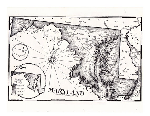 Old Map of Maryland from the 1950's, a printable digital download no.  597