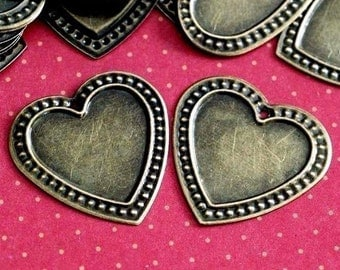 Clearance 100pcs 26mm Antique Bronze Heart Cameo Base Settings AB0305
