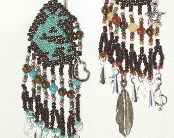 Kokopelli Beaded Necklace or Car Charms with Charm Dangles Feather Indian Jewelry Western Wear Bookmark Purse Clip Turquoise Black White