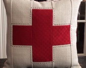 Linen + Cotton Red Cross Pillow