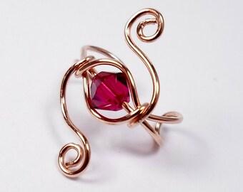 Galaxy Style Ear Cuff 14k Rose Gold Fill and Ruby Swarovski Ruby Crystal ear jewelry or custom choice Lobe Enhancer cartilage earring