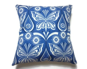 Decorative Pillow Cover  Blue White Butterfly Damask Toss Throw Accent Cover 18x18 inch x