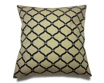 Decorative Pillow Cover Khaki Black Stone Geometric Design Toss Throw Accent Cover 18 x 18 inch x