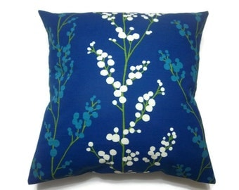 Decorative Pillow Cover Royal Blue Turquoise Green White Tree Bud Design Throw Toss Accent Same Fabric Front/Back18 x 18 inch x