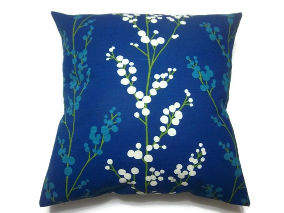 Royal Blue And White Throw Pillows : Decorative Pillow Cover Royal Blue Turquoise Green White Tree