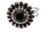 GOTTA GO Sale Vintage 50s Black Rhinestone Hinged Clamper Bracelet