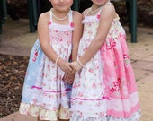 Girls Birthday tea party flower girl shabby chic Custom Twirl Dress Size 2t to 12 yrs - Country Rose Pink