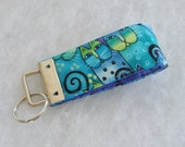 Mini Key Fob  - Laurel Burch Cats teal