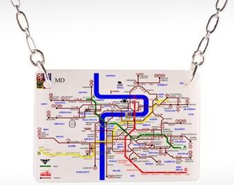 Prague Subway Necklace - Prague necklace, prague jewelry, prague gift, prague subway, subway necklace, photo necklace