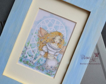 DAISIES - framed and matted fairy print by VillemoArt - ACEO size