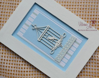 FramedArt  - shabby chic blue bird scrapbooking Home Decor art in frame by VillemoArt - FR0008