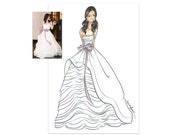 Custom Fashion Illustration- Custom Bridal Sketch-Wedding Gift-Custom Drawing-Bride-Bridal Illustration-Custom Bride-Brooke Hagel