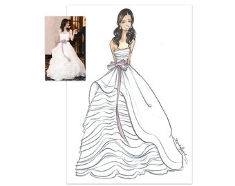 Custom Fashion Illustration- Custom Bridal Sketch-Wedding Gift-Custom Drawing-Bride-Bridal Illustration-Custom Bride-Brooke Hagel