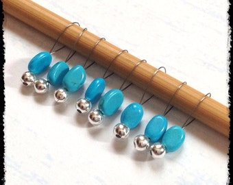 Snag Free Stitch Markers Small Set of 8 - Turquoise Dyed Stone  -- K94 -- Up to size US 8 (5.0mm) Knitting Needles