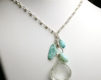Special Offer - Rutilated Quartz and Black Widow Mine Turquoise  Stone Necklace Sterling Silver Statement Necklace