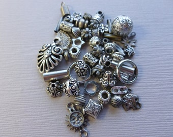 50 Lot of VARIOUS METAL BEADS pewter silver finish
