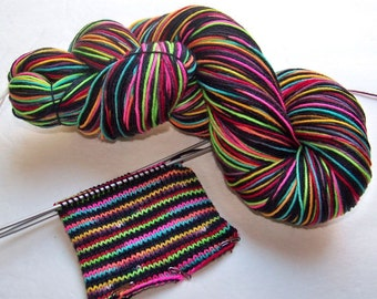 Handpainted Superwash Merino/Nylon 4-ply Sock Yarn -- STRIPING for Socks or Gloves -- Tickle Me Emo
