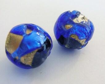 Vintage glass beads (2)  cobalt blue silver foil handmade  lamp lampwork beads Japan 12mm focal (2)